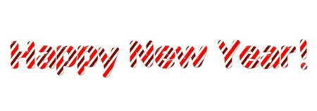 Happy New Year Candy Cand Font on White Stock Photo - 11698098