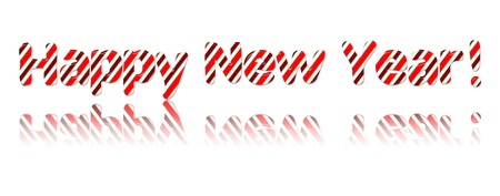 Happy New Year Candy Cand Font on White Stock Photo - 11698099