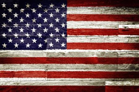 american flags: am�rica bandera pintada en el fondo de madera vieja