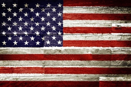 usa patriotic: america flag painted on old wood background Stock Photo
