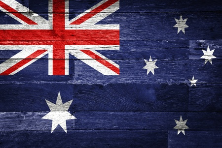 australia: australia flag painted on old wood background