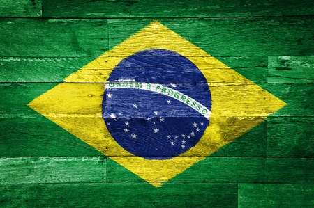 brazil flag painted on old wood background