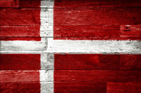 denmark flag painted on old wood background Stock Photo - 11698154