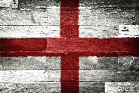 patriotic border: england flag painted on old wood background Stock Photo