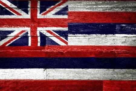 hawaii flag: Hawaii flag painted on old wood background