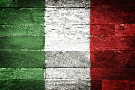 italian flag: italy flag painted on old wood background