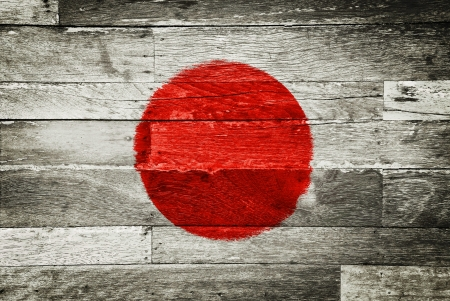 japanese symbol: japan flag painted on old wood background