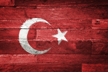 turkey flag painted on old wood background Imagens - 11698149
