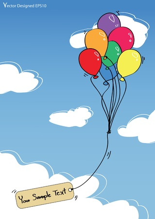 Colorful balloons with empty tag on the blue sky  Illustration