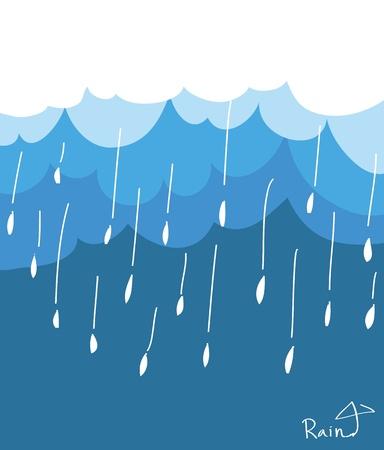rainy season: Blue clouds and rain - Vector Illustration