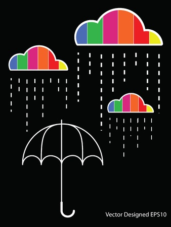 Colorful cloud with rain drop on the umbrella Vector