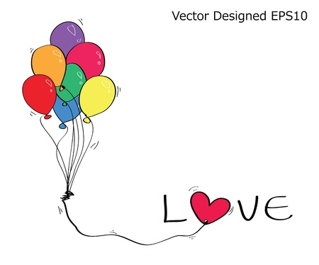 Colorful balloon with love text and heart Illustration