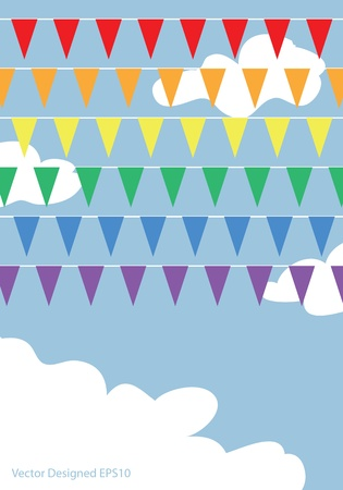 Rainbow flags on the blue sky with white clouds  Vector