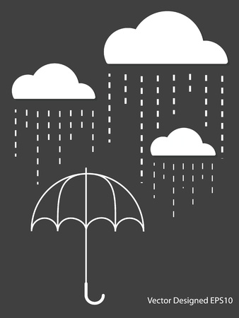 rain cartoon: White Cloud with Rain drop on umbrella