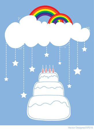Birthday Cake with rainbow and star falling from white clouds  Vector