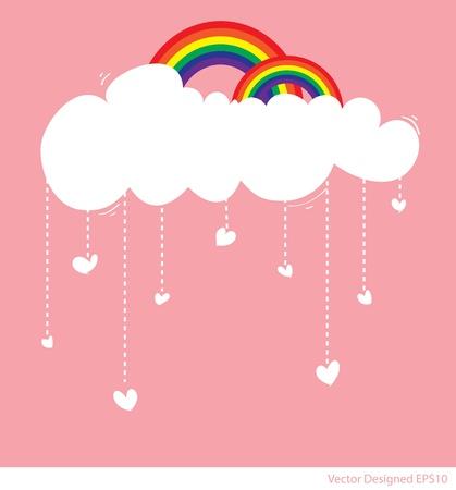 cartoon rainbow: Arco iris con las nubes y la lluvia de los corazones del amor Vectores