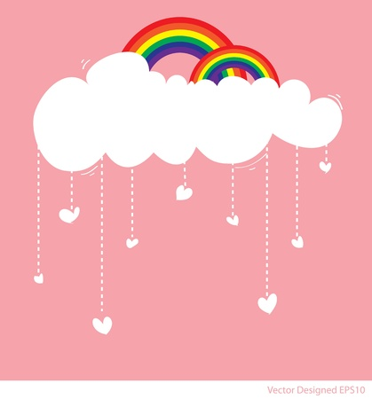rainbow cartoon: Rainbow with cloud and rain of love hearts
