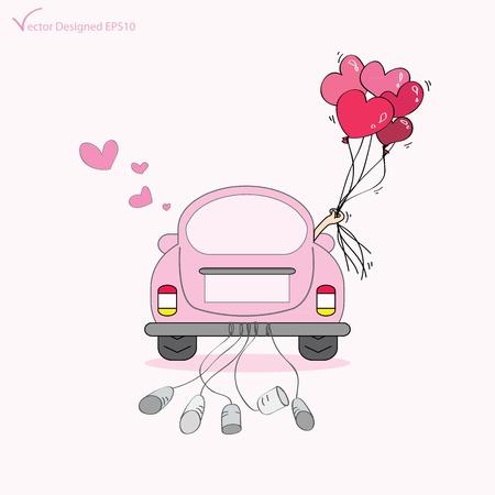 Net getrouwd op auto rijden op hun huwelijksreis