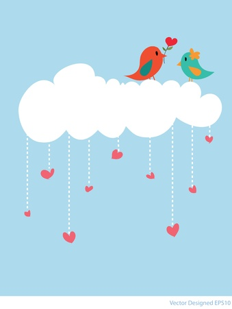 Couple bird with white cloud and hearts rain - Vector Vector