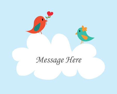 greeting people: Couple bird message with white cloud - Vector