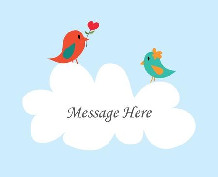 season greetings: Message d'oiseau Couple avec nuage blanc - Vecteur