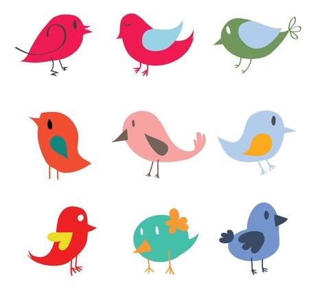 pajaro caricatura: Conjunto de diferentes pájaros lindos Vectores
