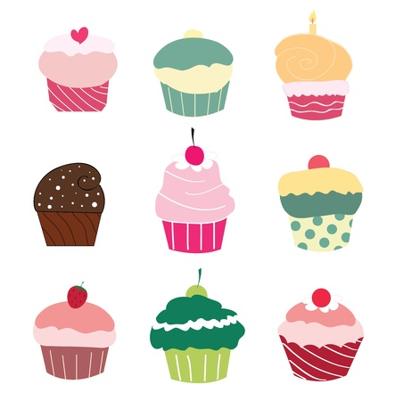 Set of 9 cute cupcakes  Vector