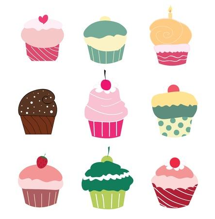 Set of 9 cute cupcakes  Vector