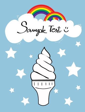 Icecream cone with cloud and rainbow on sky and star falling Vector