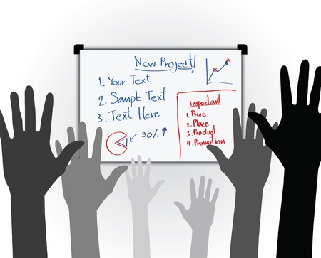 high up: Many hands high up vote for the new bussiness project at the whiteboard