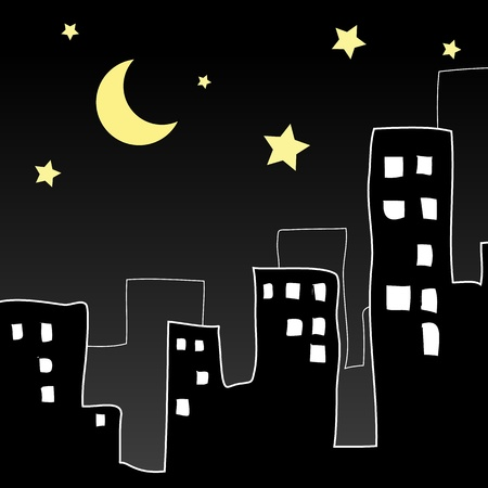 town modern home: Night in the city  Illustration