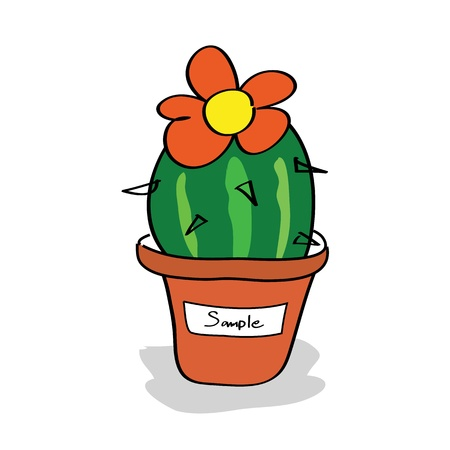 Cactus in a pot with tags Vector