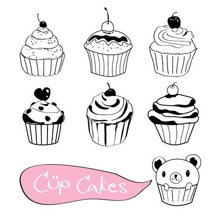 Set of cute cup cake  Ilustração