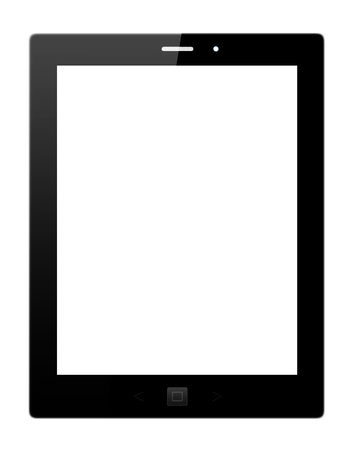 Black tablet pc on whitebackground Stock Photo