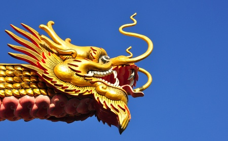 Chinese style gold dragon statue photo