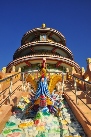 Chinese temple in thailand and clear sky photo