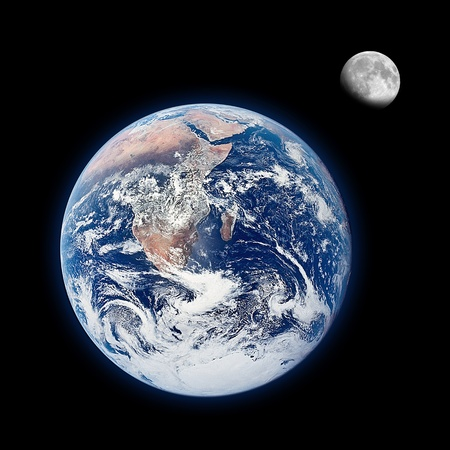 Earth and moon on balck