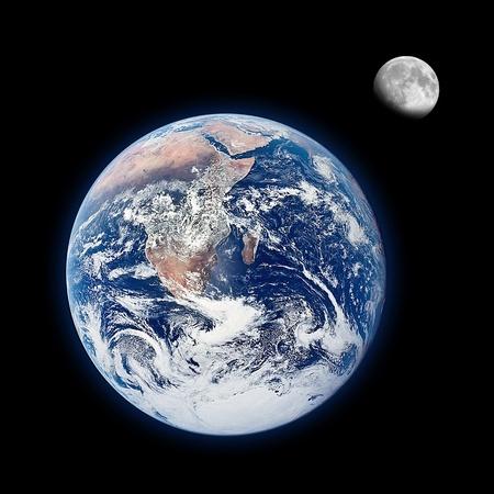 Earth and moon on balck