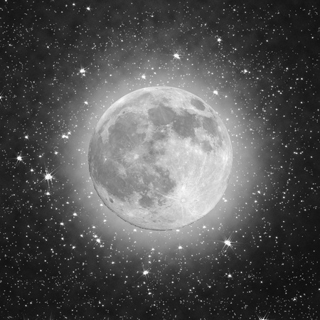 old moon: Full Moon with stars in the black background