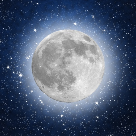 old moon: Full Moon with stars in the background