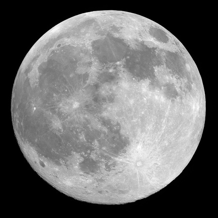 moon crater: Full moon background isolated on black Stock Photo