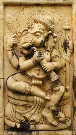 Ganesh hindu god made from Stone carving photo