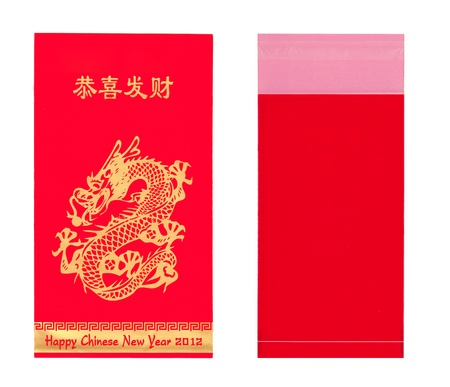 Gold dragon on red envelopes for Chinese New Year on white background photo
