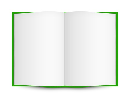 Green cover open book with blank pages isolated on white Stock Photo - 13362089