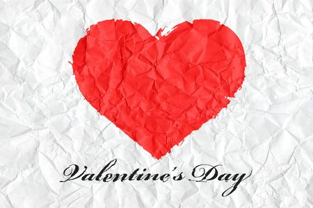 Heart shaped on crumpled paper with valentine Stock Photo - 13362135