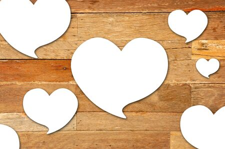 many white heart on the old wood background photo