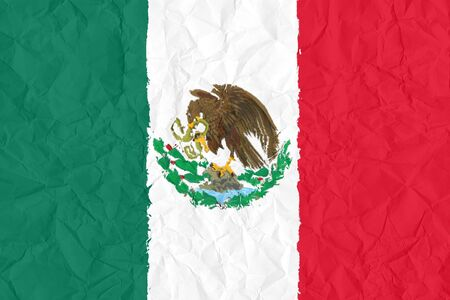 mexico grunge flag on wrinkled paper background photo