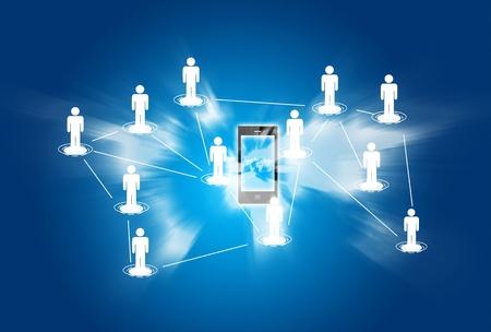 trabajo social: Tel�fono inteligente concepto de fondo de la red social Foto de archivo