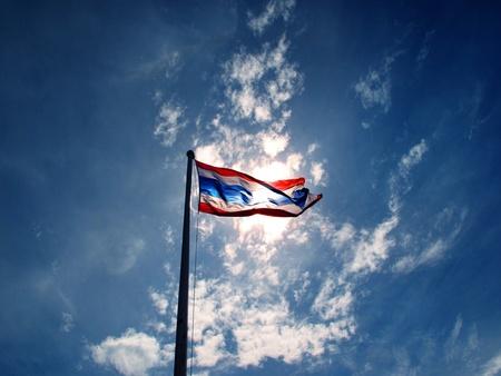 thailand flag on the blue sky                photo