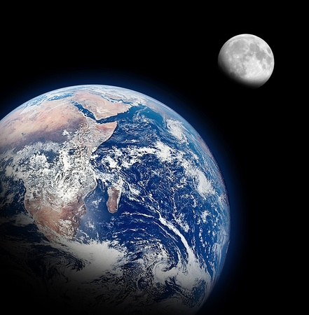 The Half Earth and The Half Moon Background Imagens - 13362176